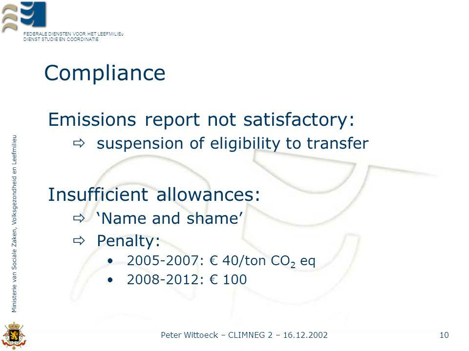 FEDERALE DIENSTEN VOOR HET LEEFMILIEu DIENST STUDIE EN COÖRDINATIE Peter Wittoeck – CLIMNEG 2 – 16.12.200210 Compliance Emissions report not satisfactory:  suspension of eligibility to transfer Insufficient allowances:  'Name and shame'  Penalty: 2005-2007: € 40/ton CO 2 eq 2008-2012: € 100