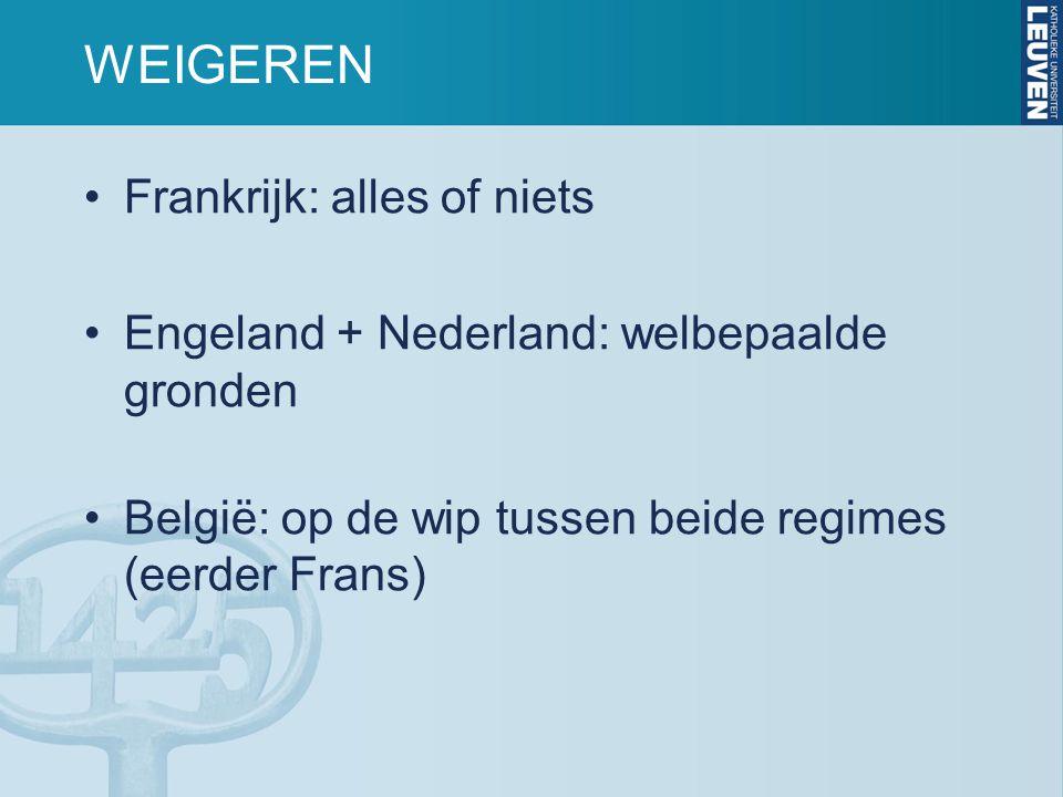 WEIGEREN Frankrijk: alles of niets Engeland + Nederland: welbepaalde gronden België: op de wip tussen beide regimes (eerder Frans)