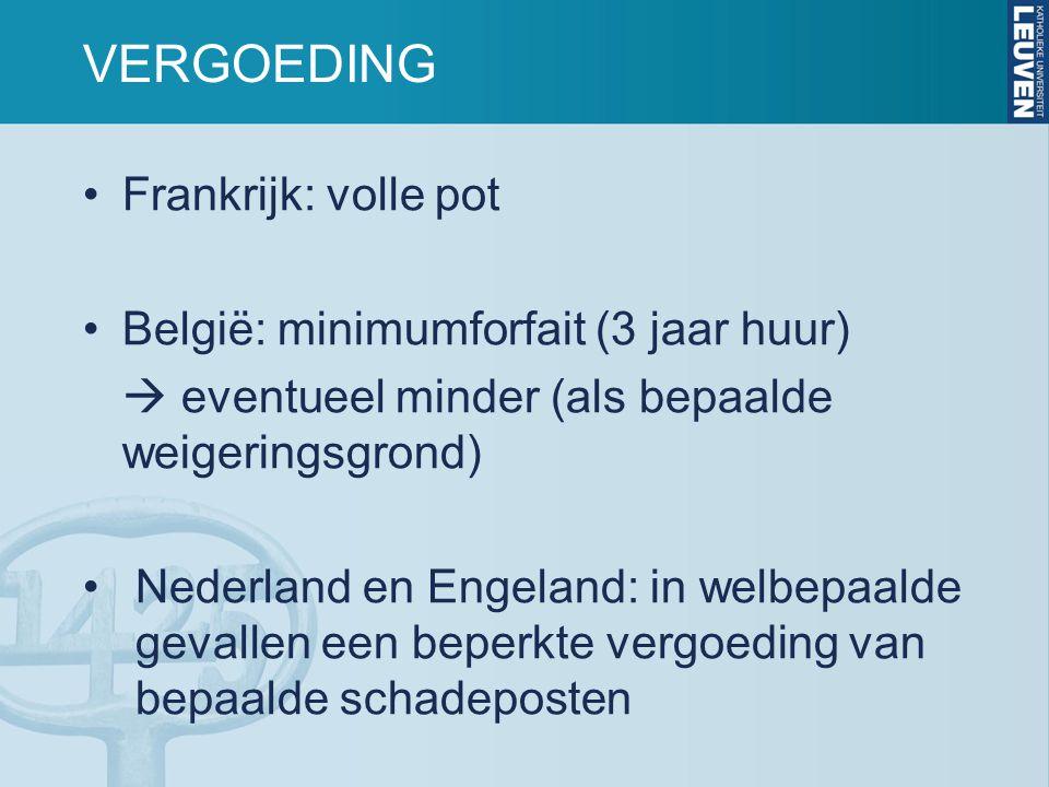 VERGOEDING Frankrijk: volle pot België: minimumforfait (3 jaar huur)  eventueel minder (als bepaalde weigeringsgrond) Nederland en Engeland: in welbepaalde gevallen een beperkte vergoeding van bepaalde schadeposten