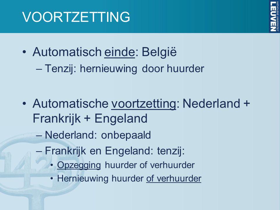 VOORTZETTING Automatisch einde: België –Tenzij: hernieuwing door huurder Automatische voortzetting: Nederland + Frankrijk + Engeland –Nederland: onbepaald –Frankrijk en Engeland: tenzij: Opzegging huurder of verhuurder Hernieuwing huurder of verhuurder