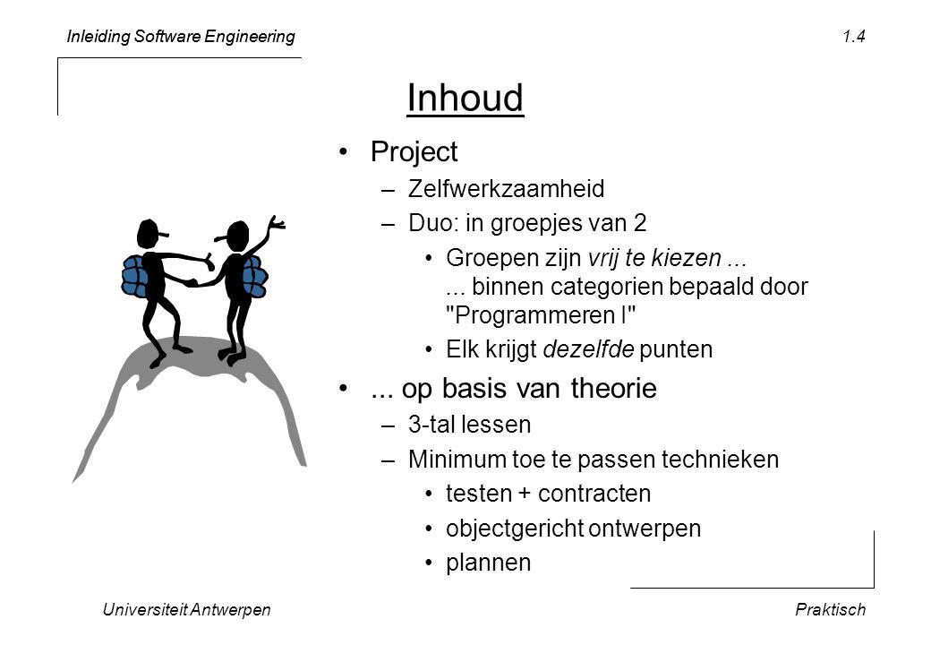 Inleiding Software Engineering Universiteit AntwerpenPraktisch 1.4 Inhoud Project –Zelfwerkzaamheid –Duo: in groepjes van 2 Groepen zijn vrij te kieze
