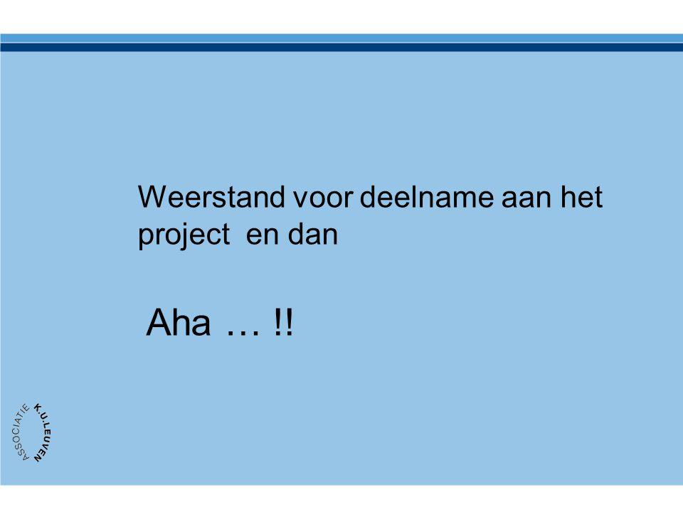 Weerstand voor deelname aan het project en dan Aha … !!
