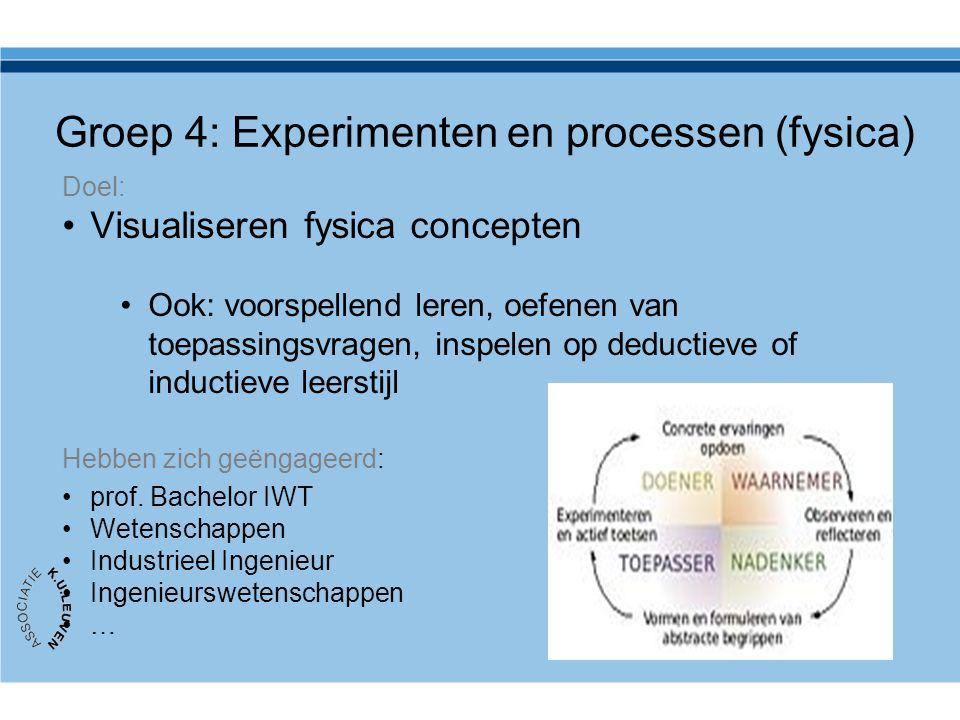 Groep 4: Experimenten en processen (fysica) Doel: Visualiseren fysica concepten Ook: voorspellend leren, oefenen van toepassingsvragen, inspelen op deductieve of inductieve leerstijl Hebben zich geëngageerd: prof.