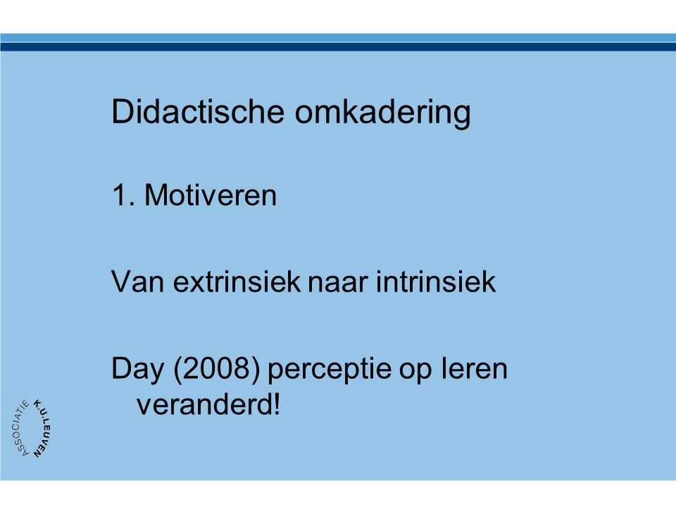 Didactische omkadering 1. Motiveren Van extrinsiek naar intrinsiek Day (2008) perceptie op leren veranderd!