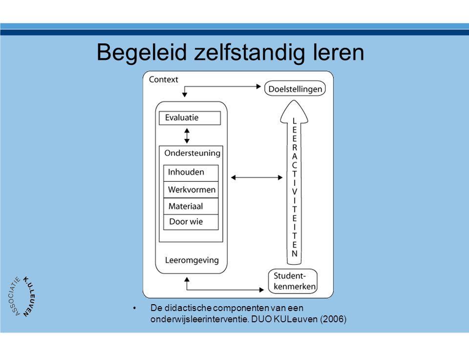 Begeleid zelfstandig leren De didactische componenten van een onderwijsleerinterventie. DUO KULeuven (2006)