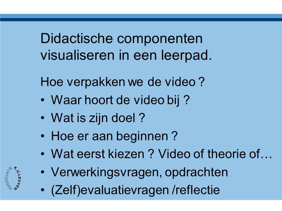 Didactische componenten visualiseren in een leerpad. Hoe verpakken we de video ? Waar hoort de video bij ? Wat is zijn doel ? Hoe er aan beginnen ? Wa