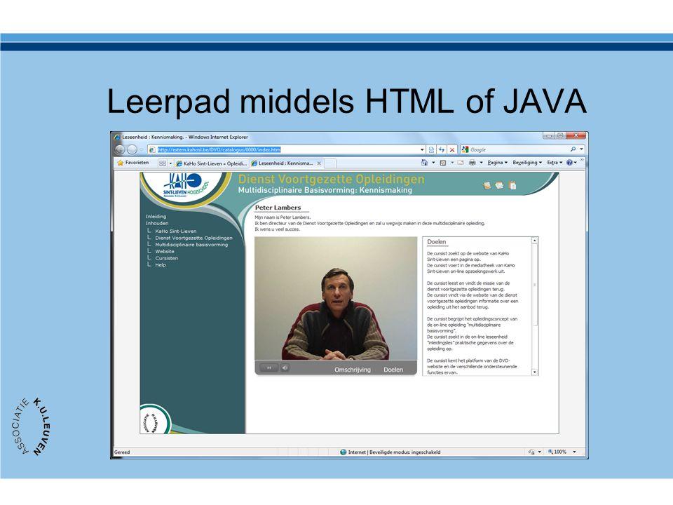 Leerpad middels HTML of JAVA http://extern.kahosl.be/DVO/catalogus/0000/