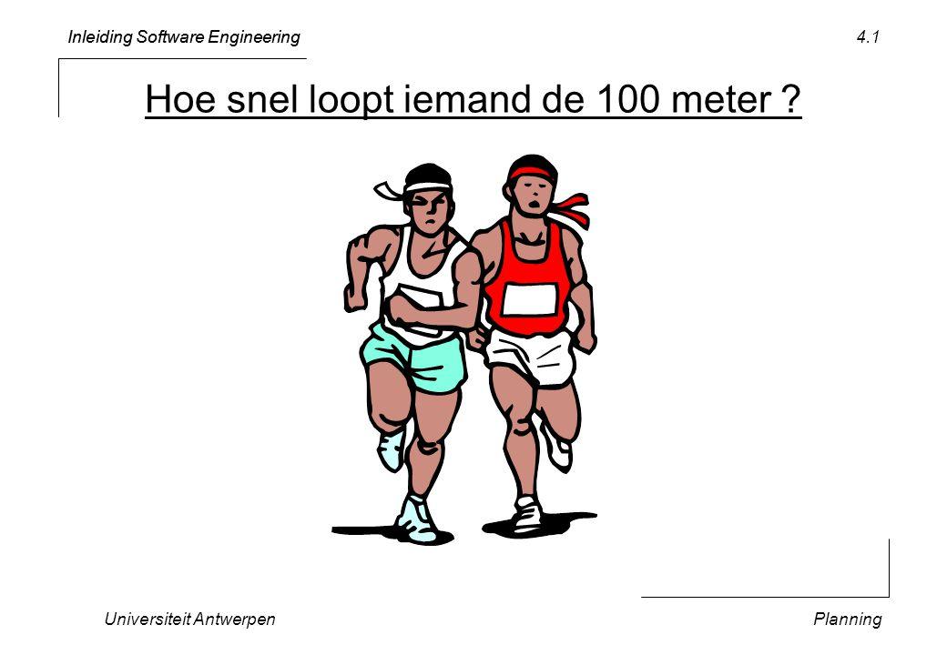 Inleiding Software Engineering Universiteit AntwerpenPlanning 4.1 Hoe snel loopt iemand de 100 meter
