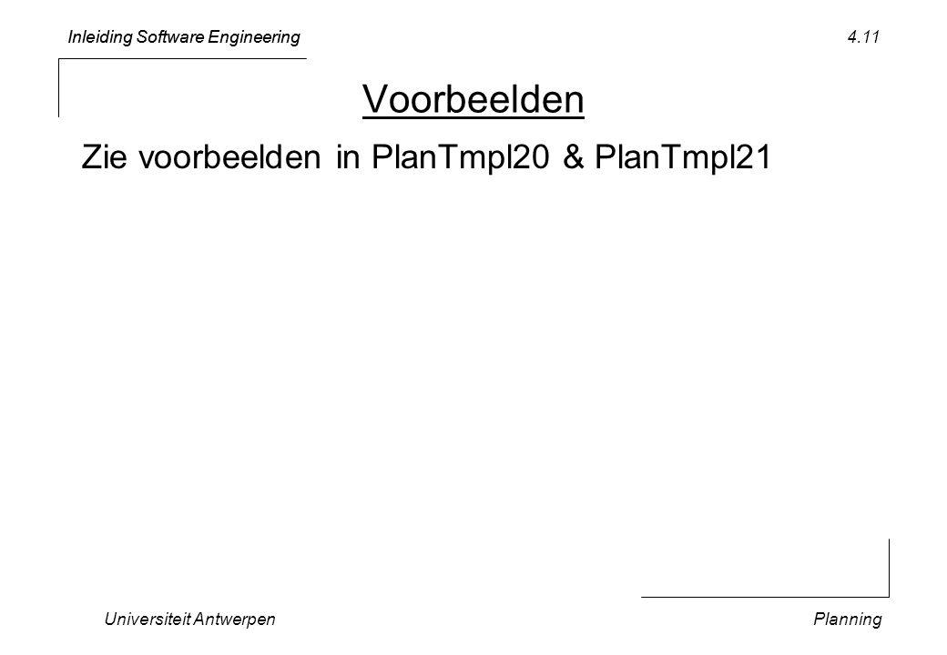 Inleiding Software Engineering Universiteit AntwerpenPlanning 4.11 Voorbeelden Zie voorbeelden in PlanTmpl20 & PlanTmpl21