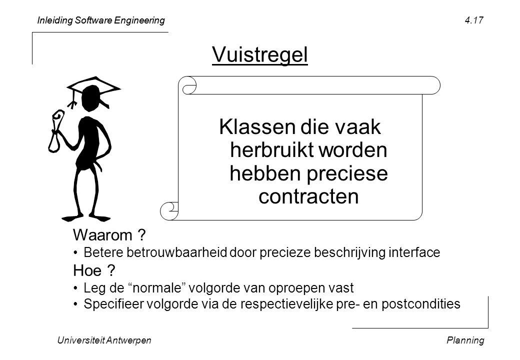 Inleiding Software Engineering Universiteit AntwerpenPlanning 4.17 Vuistregel Klassen die vaak herbruikt worden hebben preciese contracten Waarom .