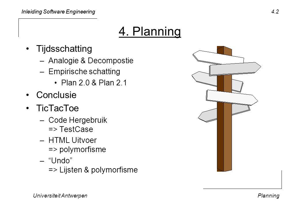 Inleiding Software Engineering Universiteit AntwerpenPlanning 4.23 PROCEDURE (aTest: TicTacToeTest) testOutputGame* (… writeHTML: BOOLEAN): BOOLEAN; … IF writeHTML THEN Texts.WriteString(w, );Texts.WriteLn(w); … END; WHILE aTest.aGame.notDone() DO aTest.aGame.doMove(); IF writeHTML THEN aTest.aGame.writeHTMLOn(w); ELSE aTest.aGame.writeOn(w); END; END; IF writeHTML THEN Texts.WriteString(w, );Texts.WriteLn(w); END; … => complexe conditionele logica