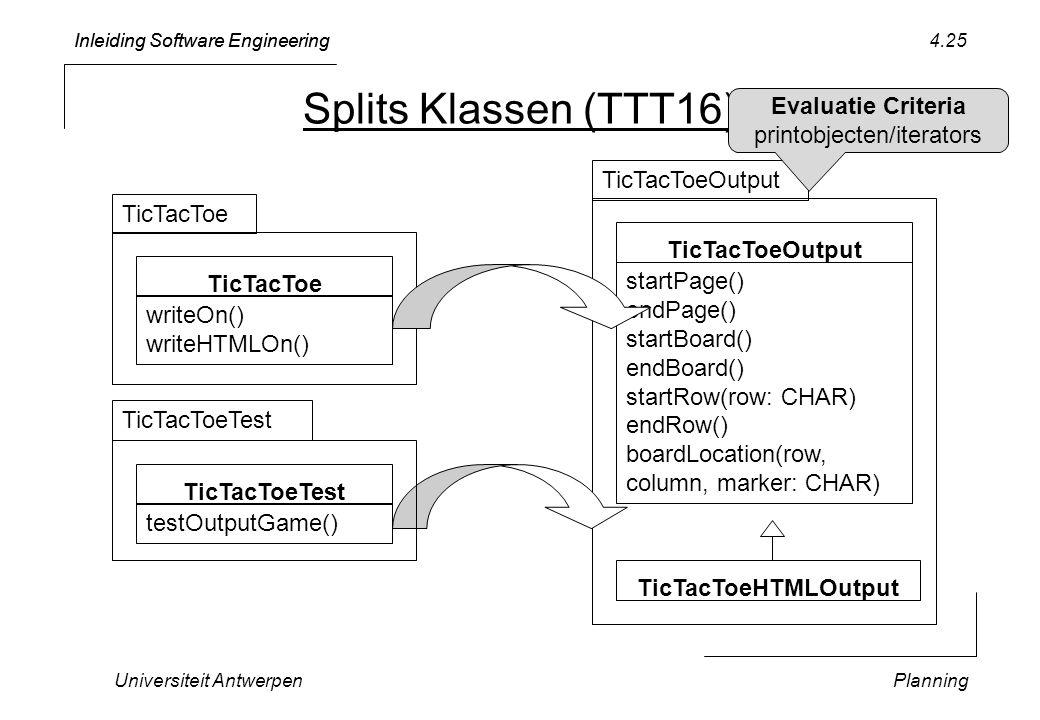 Inleiding Software Engineering Universiteit AntwerpenPlanning 4.25 Splits Klassen (TTT16) TicTacToeOutput startPage() endPage() startBoard() endBoard() startRow(row: CHAR) endRow() boardLocation(row, column, marker: CHAR) TicTacToeOutput TicTacToe writeOn() writeHTMLOn() TicTacToe TicTacToeHTMLOutput TicTacToeTest testOutputGame() TicTacToeTest Evaluatie Criteria printobjecten/iterators
