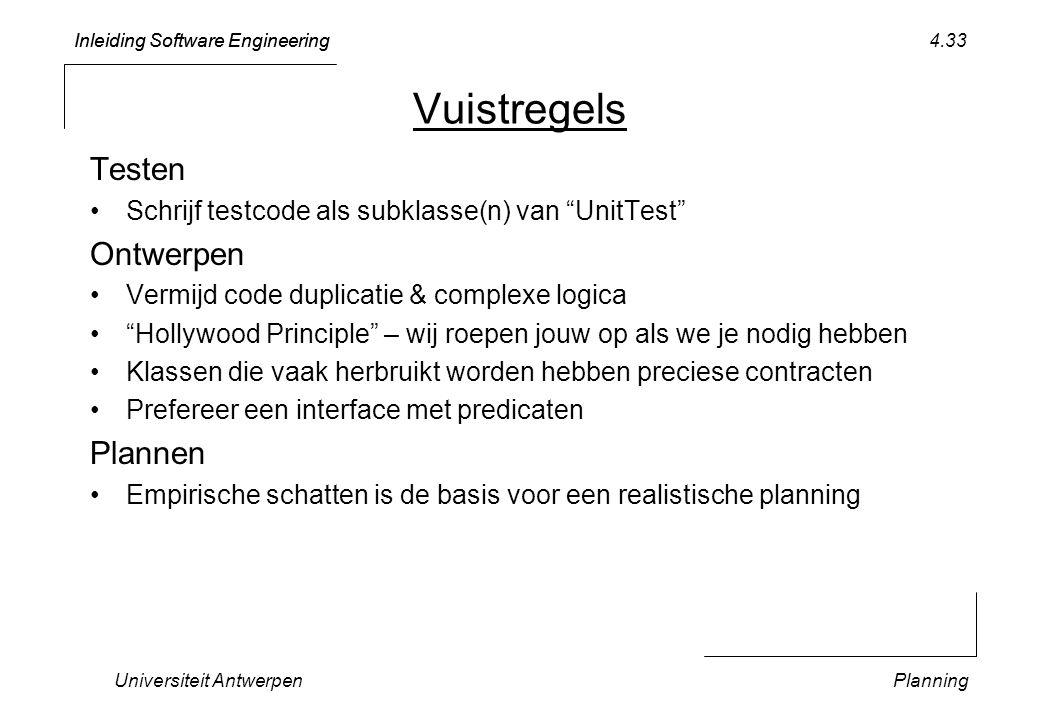 Inleiding Software Engineering Universiteit AntwerpenPlanning 4.33 Vuistregels Testen Schrijf testcode als subklasse(n) van UnitTest Ontwerpen Vermijd code duplicatie & complexe logica Hollywood Principle – wij roepen jouw op als we je nodig hebben Klassen die vaak herbruikt worden hebben preciese contracten Prefereer een interface met predicaten Plannen Empirische schatten is de basis voor een realistische planning
