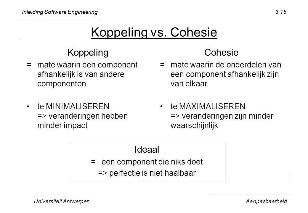 Inleiding Software Engineering Universiteit AntwerpenAanpasbaarheid 3.16 Koppeling vs. Cohesie Koppeling =mate waarin een component afhankelijk is van