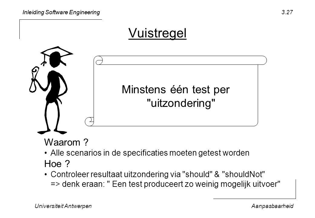 Inleiding Software Engineering Universiteit AntwerpenAanpasbaarheid 3.27 Vuistregel Minstens één test per