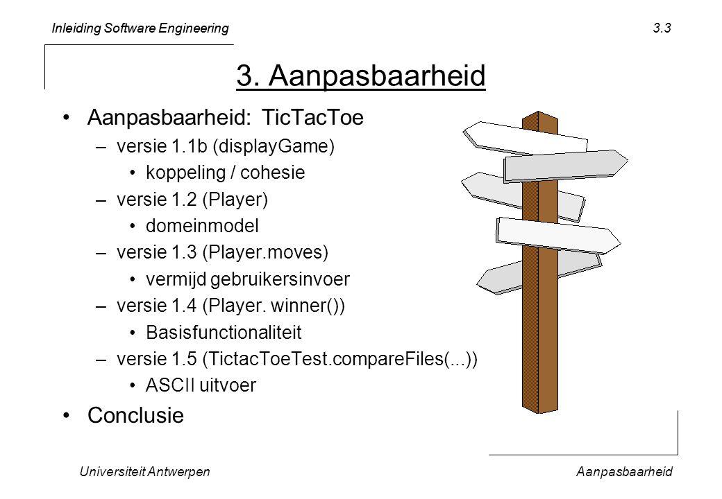 Inleiding Software Engineering Universiteit AntwerpenAanpasbaarheid 3.3 3. Aanpasbaarheid Aanpasbaarheid: TicTacToe –versie 1.1b (displayGame) koppeli