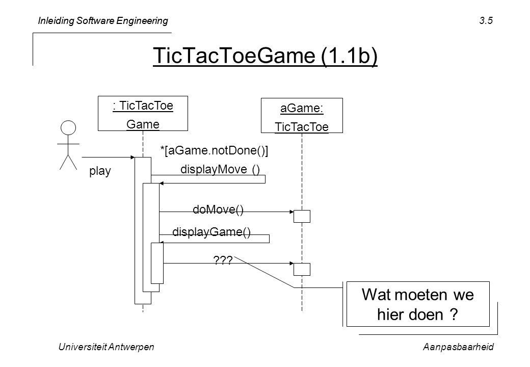 Inleiding Software Engineering Universiteit AntwerpenAanpasbaarheid 3.6 PROCEDURE Play*; VAR aGame: TicTacToe.TicTacToe; BEGIN initDisplay; NEW(aGame); aGame.init(); displayGame(aGame); WHILE aGame.notDone() DO aGame.doMove(); displayGame(aGame); END; END Play; Wat moeten we hier doen ?