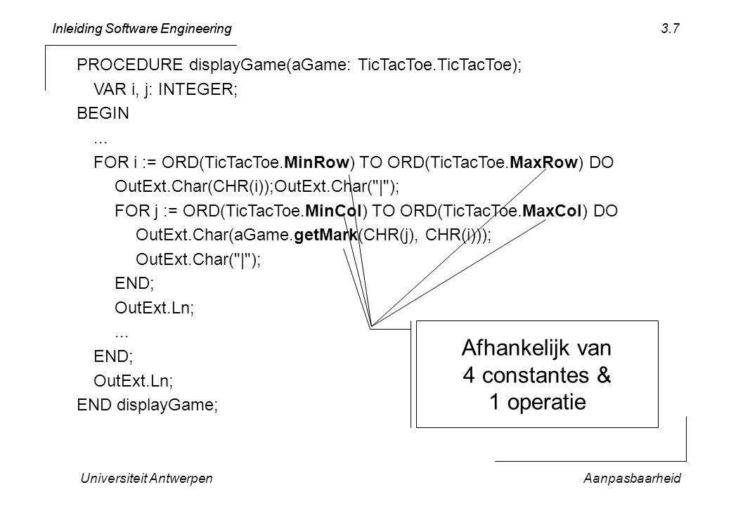 Inleiding Software Engineering Universiteit AntwerpenAanpasbaarheid 3.28 PROCEDURE (t: TicTacToeTest) testLegalMoves* (v: BOOLEAN): BOOLEAN; PROCEDURE aux (in: ARRAY OF CHAR; legal: BOOLEAN): BOOLEAN; VAR result: BOOLEAN; BEGIN result := TicTacToe.LegalMoves(in); IF ~ aTest.should(legal = result, …) THEN RETURN FALSE; END; END BEGIN IF ~ aux( a1 c1 b2 a3 c3 , TRUE) THEN RETURN FALSE END; IF ~ aux( b1 a2 c2 b3 , TRUE) THEN RETURN FALSE END; IF ~ aux( , TRUE) THEN RETURN FALSE END; IF ~ aux( b1 a2 c2 b3 , TRUE) THEN RETURN FALSE END; IF ~ aux( A1 , FALSE) THEN RETURN FALSE END; IF ~ aux( a5 , FALSE) THEN RETURN FALSE END; IF ~ aux( a19 , FALSE) THEN RETURN FALSE END; RETURN TRUE; END testLegalMoves;