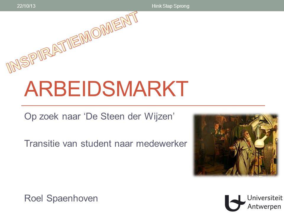 ARBEIDSMARKT Op zoek naar 'De Steen der Wijzen' Transitie van student naar medewerker Roel Spaenhoven 22/10/13Hink Stap Sprong
