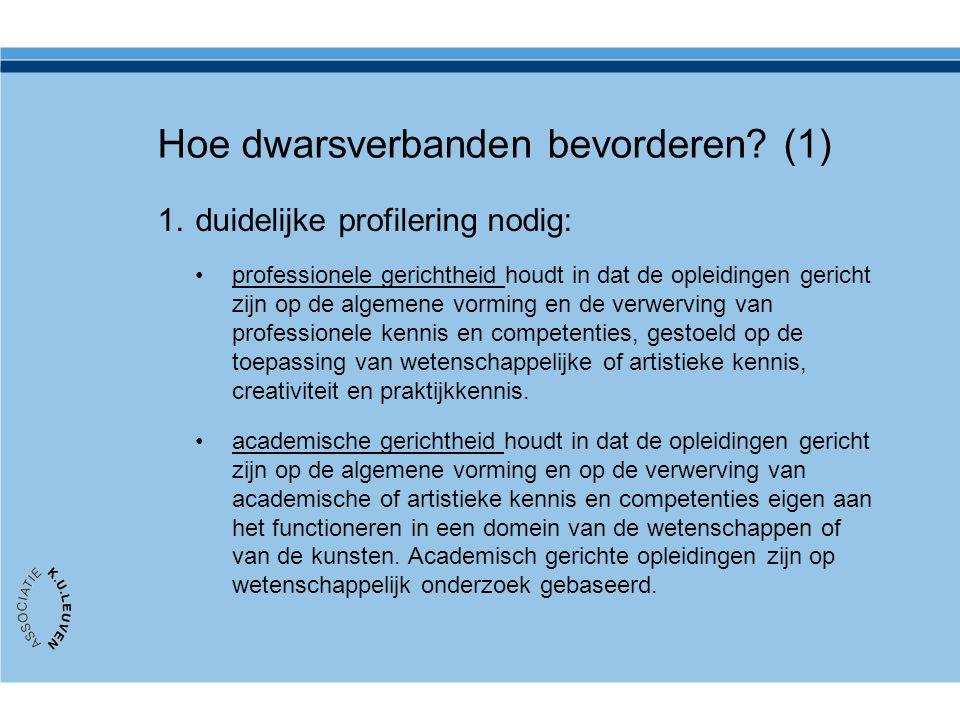 Hoe dwarsverbanden bevorderen? (1) 1.duidelijke profilering nodig: professionele gerichtheid houdt in dat de opleidingen gericht zijn op de algemene v