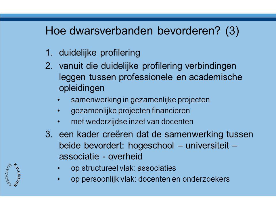 Hoe dwarsverbanden bevorderen? (3) 1.duidelijke profilering 2.vanuit die duidelijke profilering verbindingen leggen tussen professionele en academisch