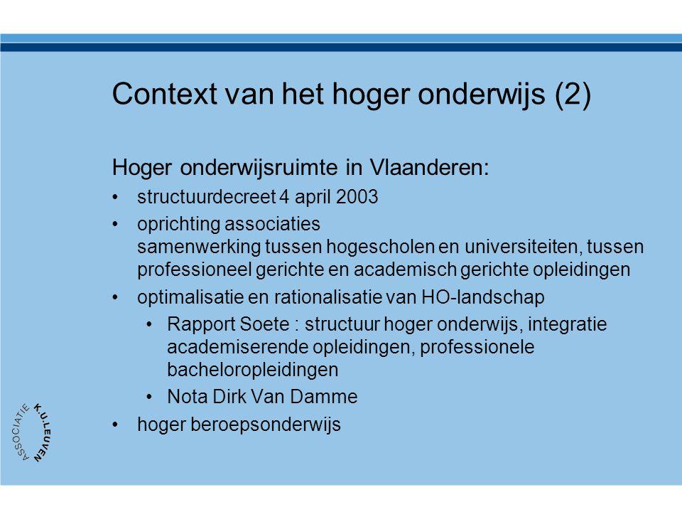 Hoger onderwijsruimte in Vlaanderen: structuurdecreet 4 april 2003 oprichting associaties samenwerking tussen hogescholen en universiteiten, tussen pr