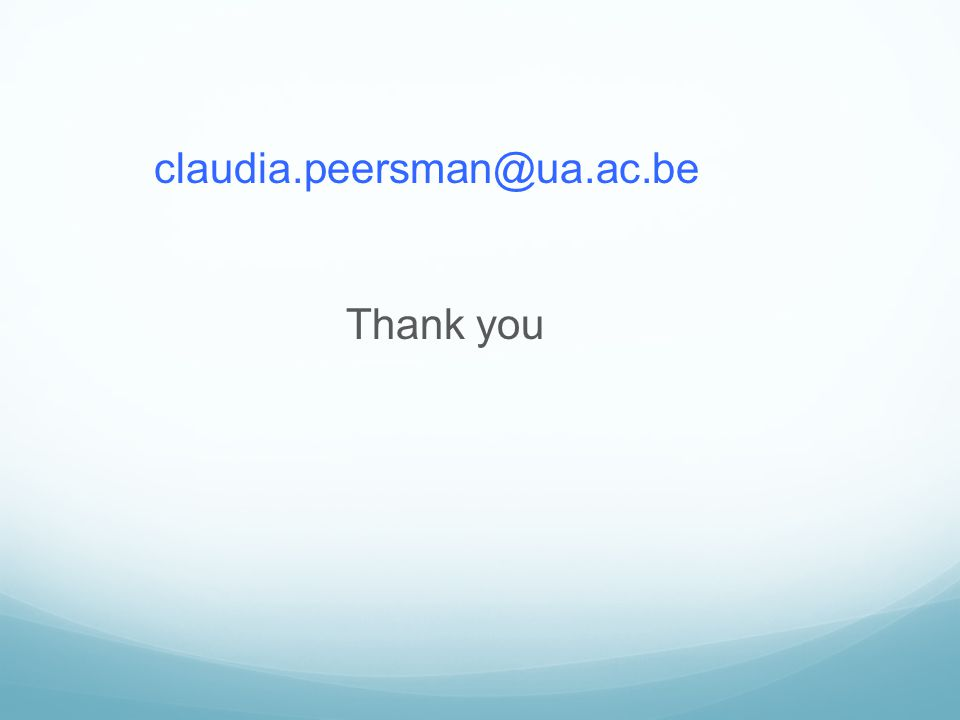 claudia.peersman@ua.ac.be Thank you