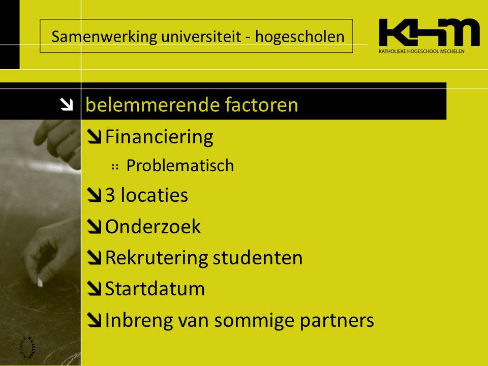 Samenwerking universiteit - hogescholen Financiering Problematisch 3 locaties Onderzoek Rekrutering studenten Startdatum Inbreng van sommige partners belemmerende factoren