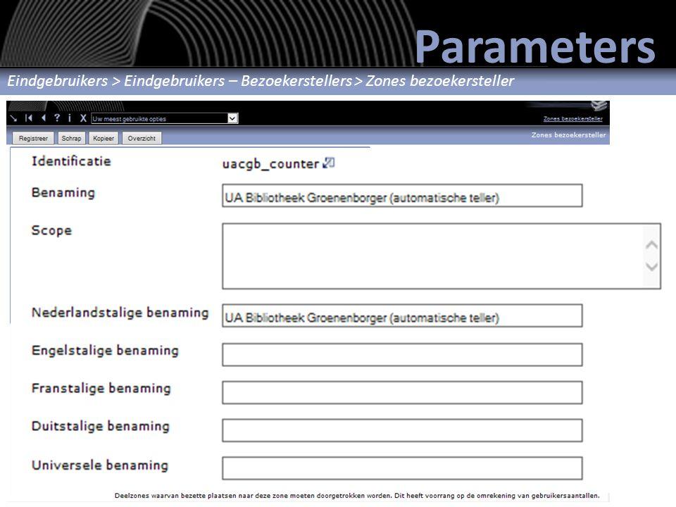 Parameters Zone definiëren Eindgebruikers > Eindgebruikers – Bezoekerstellers > Zones bezoekersteller