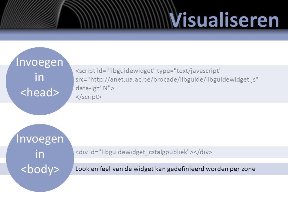 Look en feel van de widget kan gedefinieerd worden per zone <script id= libguidewidget type= text/javascript src= http://anet.ua.ac.be/brocade/libguide/libguidewidget.js data-lg= N > Visualiseren Invoegen in Invoegen in