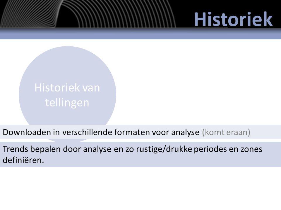 Historiek van tellingen Historiek Downloaden in verschillende formaten voor analyse (komt eraan) Trends bepalen door analyse en zo rustige/drukke peri