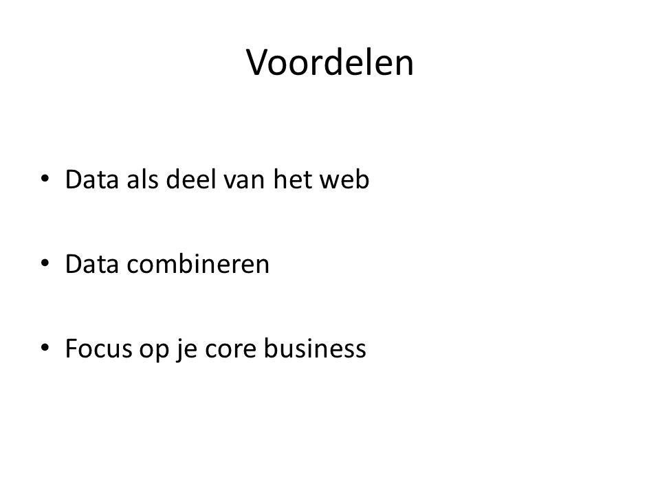 Voordelen Data als deel van het web Data combineren Focus op je core business