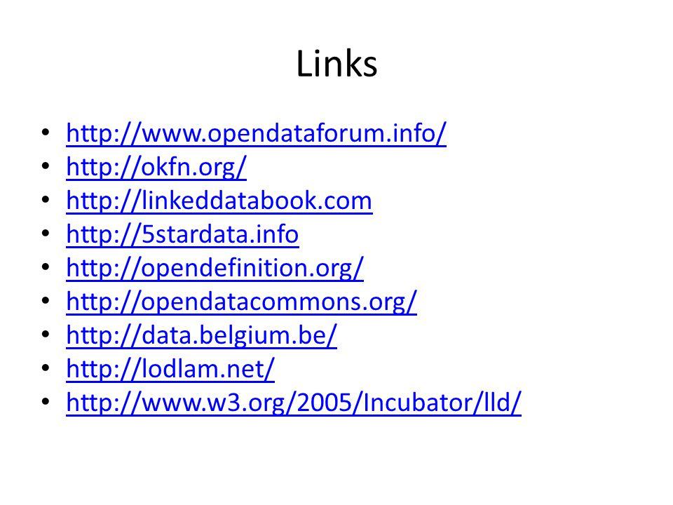Links http://www.opendataforum.info/ http://okfn.org/ http://linkeddatabook.com http://5stardata.info http://opendefinition.org/ http://opendatacommons.org/ http://data.belgium.be/ http://lodlam.net/ http://www.w3.org/2005/Incubator/lld/