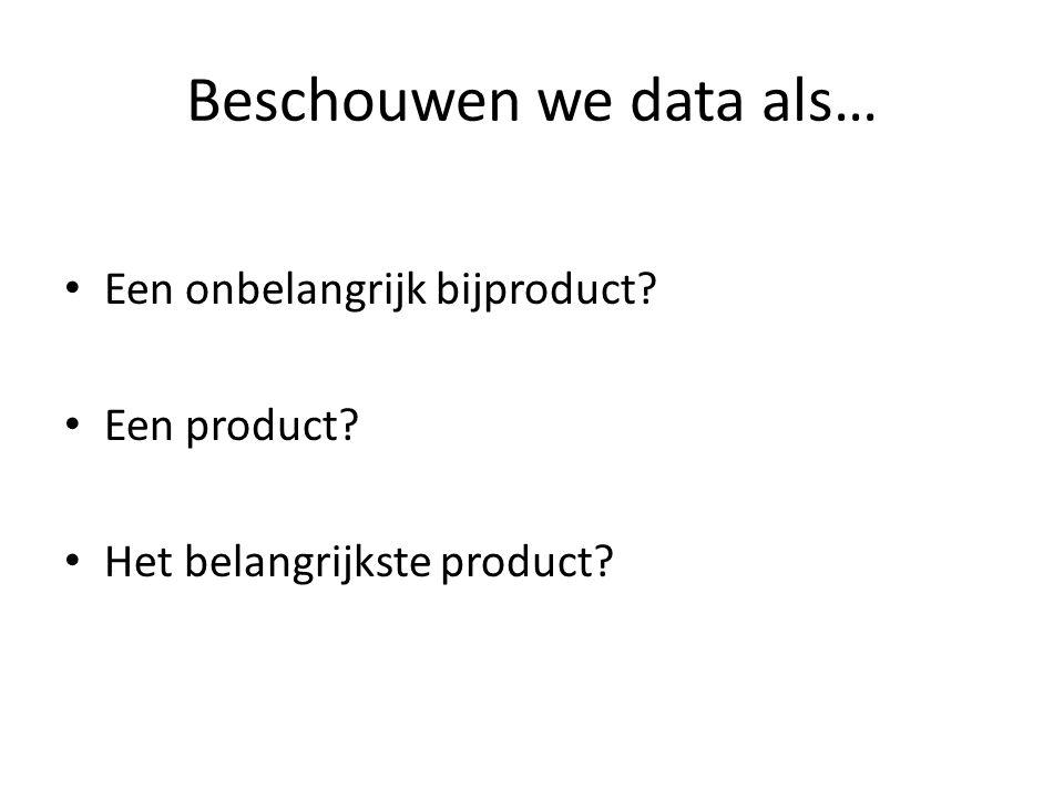 Beschouwen we data als… Een onbelangrijk bijproduct Een product Het belangrijkste product