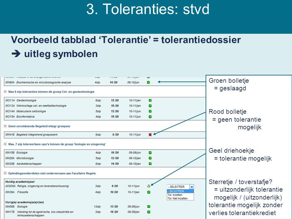 3. Toleranties: stvd Voorbeeld tabblad 'Tolerantie' = tolerantiedossier  uitleg symbolen Groen bolletje = geslaagd Rood bolletje = geen tolerantie mo