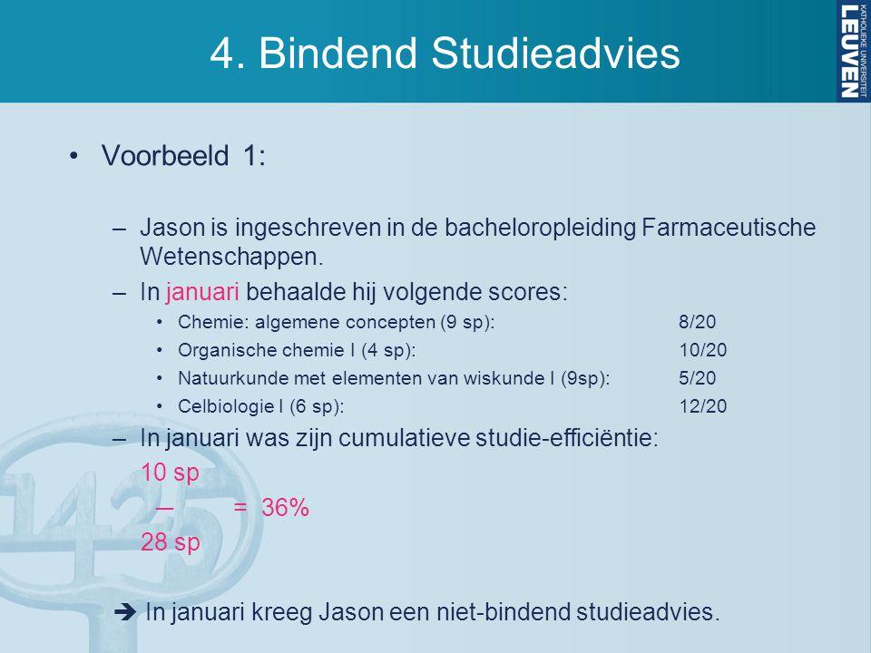 4. Bindend Studieadvies Voorbeeld 1: –Jason is ingeschreven in de bacheloropleiding Farmaceutische Wetenschappen. –In januari behaalde hij volgende sc