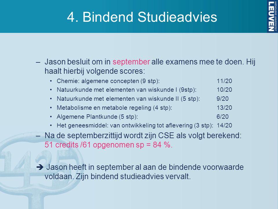 4.Bindend Studieadvies –Jason besluit om in september alle examens mee te doen.