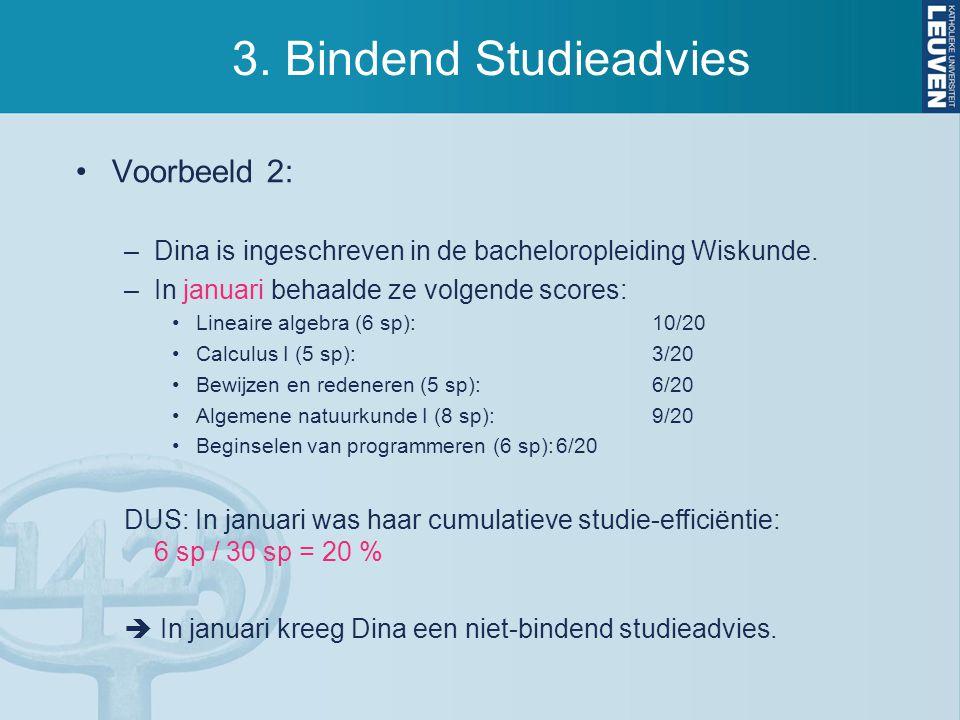 3.Bindend Studieadvies Voorbeeld 2: –Dina is ingeschreven in de bacheloropleiding Wiskunde.
