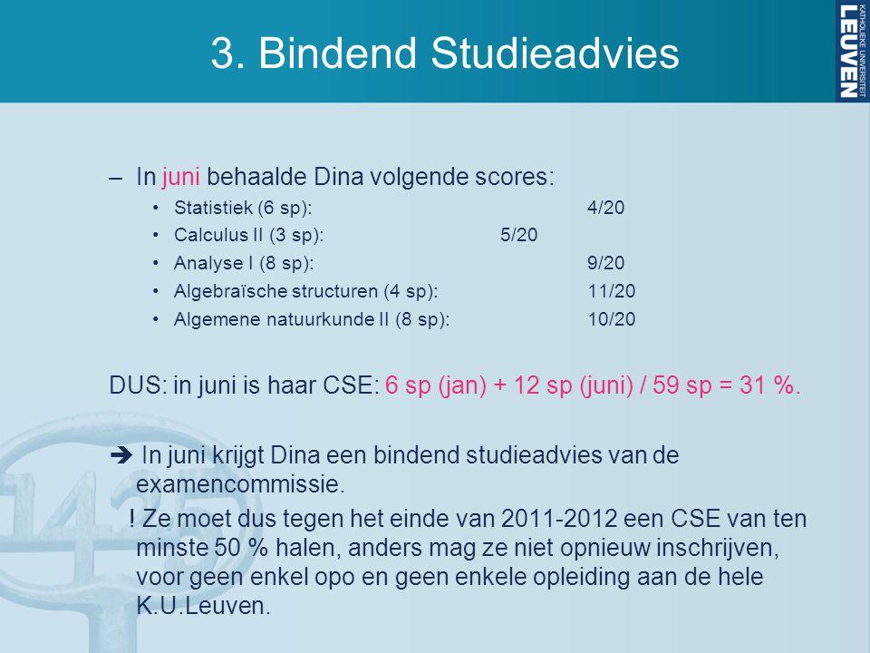3. Bindend Studieadvies –In juni behaalde Dina volgende scores: Statistiek (6 sp):4/20 Calculus II (3 sp):5/20 Analyse I (8 sp):9/20 Algebraïsche stru