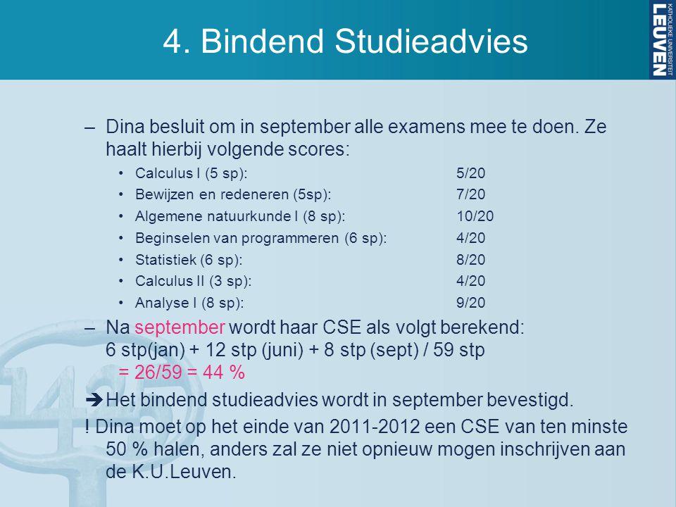 4.Bindend Studieadvies –Dina besluit om in september alle examens mee te doen.
