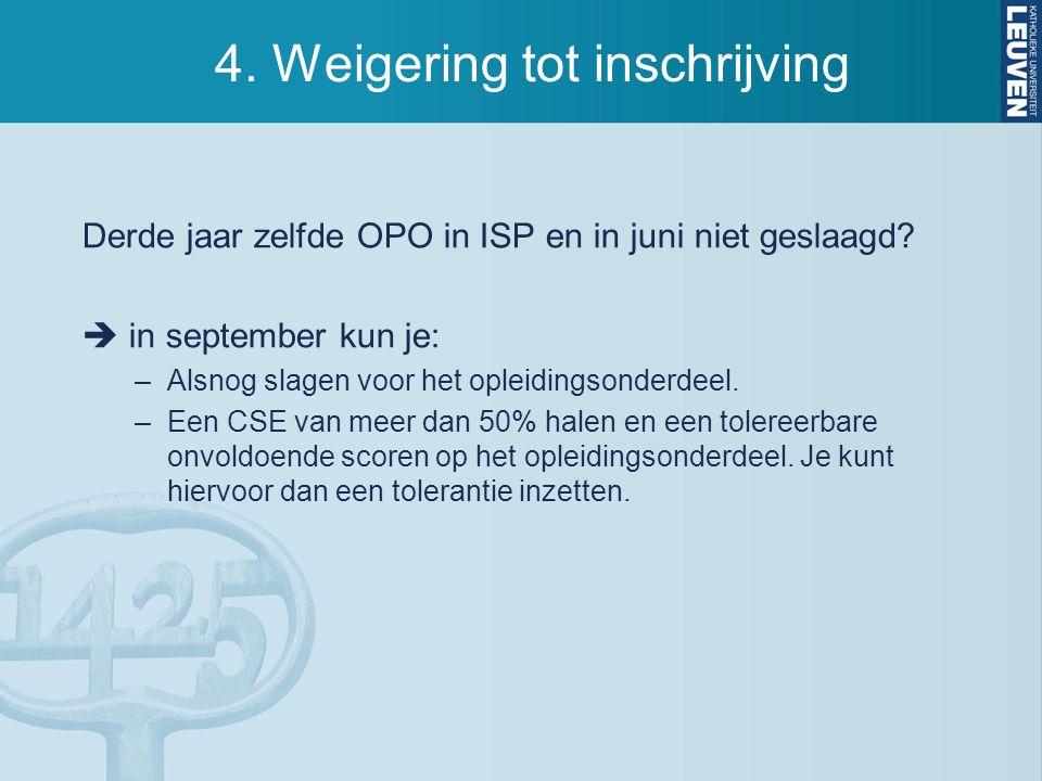4.Weigering tot inschrijving Derde jaar zelfde OPO in ISP en in juni niet geslaagd.