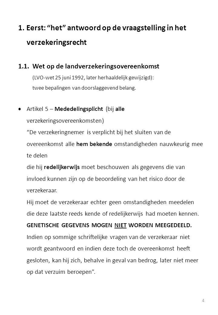"""1. Eerst: """"het"""" antwoord op de vraagstelling in het verzekeringsrecht 1.1.Wet op de landverzekeringsovereenkomst (LVO-wet 25 juni 1992, later herhaald"""