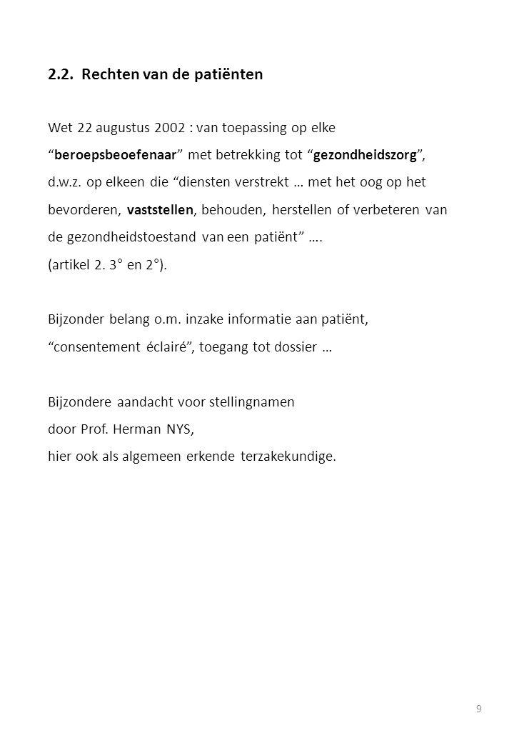 """9 2.2.Rechten van de patiënten Wet 22 augustus 2002 : van toepassing op elke """"beroepsbeoefenaar"""" met betrekking tot """"gezondheidszorg"""", d.w.z. op elkee"""