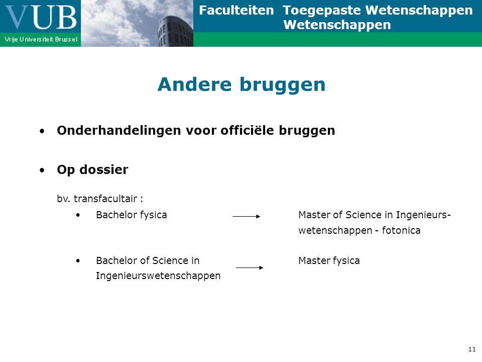 Faculteiten Toegepaste Wetenschappen Wetenschappen 11 Andere bruggen Onderhandelingen voor officiële bruggen Op dossier bv.