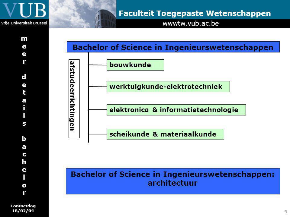 4 Faculteit Toegepaste Wetenschappen Vrije Universiteit Brussel meerdetailsbachelormeerdetailsbachelor Bachelor of Science in Ingenieurswetenschappen