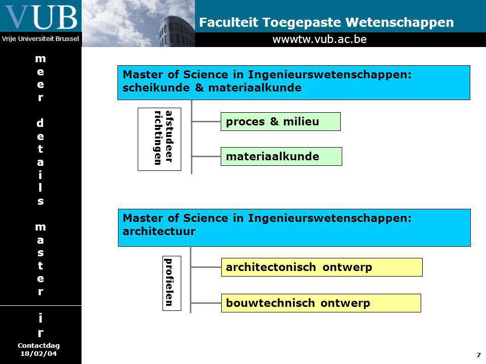 7 Faculteit Toegepaste Wetenschappen Vrije Universiteit Brussel Master of Science in Ingenieurswetenschappen: scheikunde & materiaalkunde proces & mil