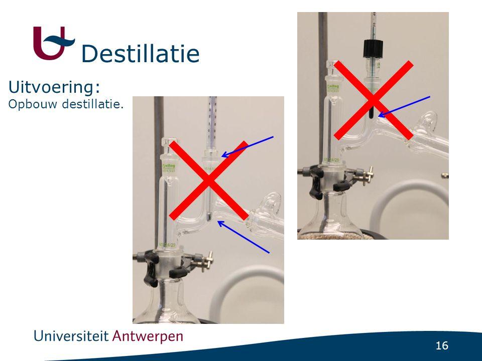 16 Opbouw destillatie. Uitvoering: Destillatie