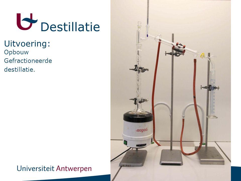 18 Opbouw Gefractioneerde destillatie. Uitvoering: Destillatie