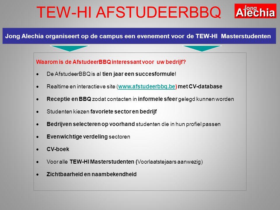 TEW-HI AFSTUDEERBBQ Jong Alechia organiseert op de campus een evenement voor de TEW-HI Masterstudenten Waarom is de AfstudeerBBQ interessant voor uw bedrijf.