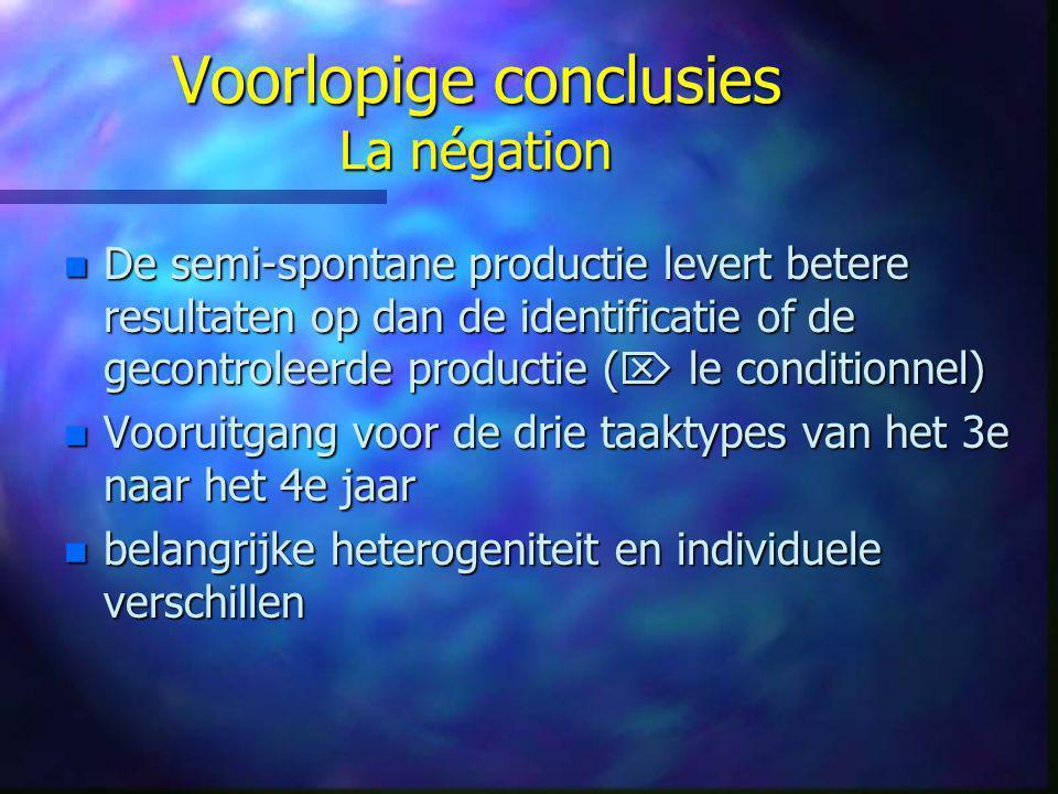 Voorlopige conclusies La négation n De semi-spontane productie levert betere resultaten op dan de identificatie of de gecontroleerde productie (  le